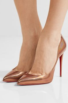 Christian Louboutin - Pigalle Follies 100 Metallic Patent-leather Pumps - Bronze - IT40.5