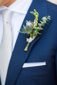 Floral Design: The Pollen Mill Wine Country Wedding in Yountville, California grooms boutonniere | wedding flowers | blue and blush | thistle | August