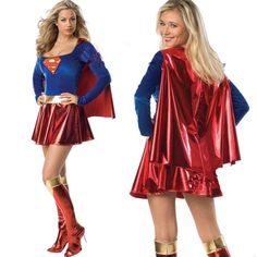 d593c9a7245 Sexy Slim Superwoman Halloween Cosplay Costume Wonder Woman Costume Long  Sleeve Dress With Shawl + Boot Cover Adult Uniforms