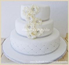 Pure white wedding cake