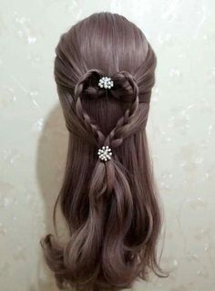 Valentine's Day Hair! Easy Toddler Hairstyles, Fancy Hairstyles, Little Girl Hairstyles, Braided Hairstyles, Blunt Hair, Braid Designs, Baby Girl Hair, Beautiful Long Hair, Hair Dos