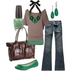 Green outfit! Love this, would wear in an instant!