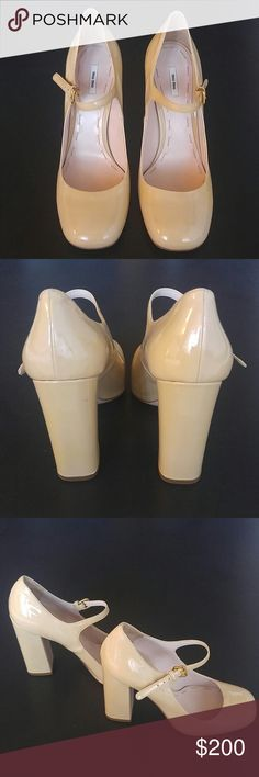 "Miu Miu Pumps Cream colored patent leather pumps, never worn! 4"" heel Miu Miu Shoes Heels"