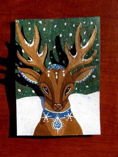 LWick Original ACEO art raised cut out animal winter holiday snow deer blue