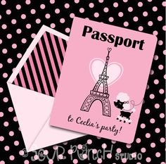 INSTANT DOWNLOAD, Pink Parisian Poodle Birthday Passport, Printable Invitation, You Edit Yourself in Adobe Reader by PaperZooPrintables on Etsy https://www.etsy.com/listing/171899228/instant-download-pink-parisian-poodle