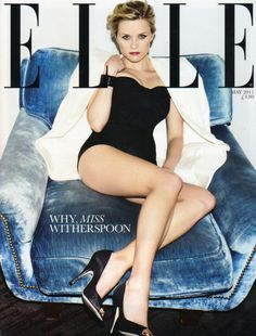 In love with this studded blue velvet chair, incidentally Reese looks fabulous too!