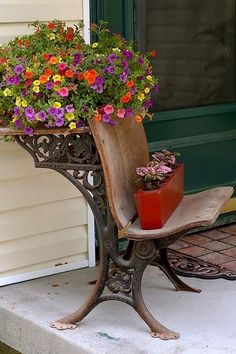 Clever way to use an antique school desk. I like that it functions ...