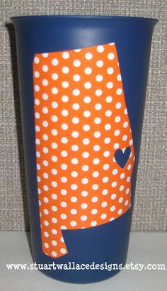 Auburn tailgating tumblers - my heart belongs to .... personalized gift. $5.50, via Etsy.