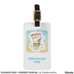 LUGGAGE TAGS - WHISKEY SOUR RECIPE COCKTAIL ART