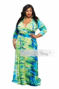 New Plus Size Long Dress with Collar and Tie in Mint, Green, Royal Blue, Black…
