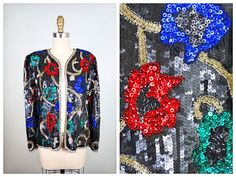 Art Deco Beaded Sequined Blazer // Vintage Silk All by braxae