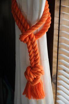Orange Curtain Tiebacks - Nautical Gift - Nautical Decor -