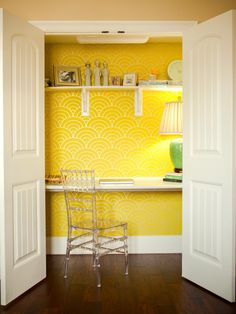 Home Office Small Space Decorating Home Office Designs Decorating Ideas Dwell Dwell. Stunning Wallpapers In 20 Home Office And Study Spaces . 20 Masculine Home Office Designs Decorating Ideas . Home Design Ideas Home Office Closet, Home Office Storage, Home Office Organization, Home Office Design, Home Office Decor, Office Ideas, Smart Closet, Closet Desk, Simple Closet