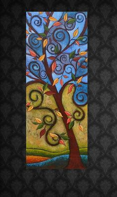 Abstract Tree Painting The Crown Jewels by on Etsy, Abstract Art Images, Abstract Tree Painting, Autumn Painting, Painting Art, Tree Of Life Art, Tree Art, Watercolor Projects, Tree Canvas, Leaf Art
