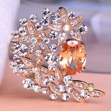 Luxury Brand Designer Blue Sapphire Woman Large Flowers Rhinestone Brooches Bouquet Crystal For Wedding Jewelry Leaf Mix Lots(China (Mainland))