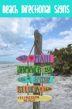 This beach directional sign is personalized with your favorite destinations. The perfect sign so you'll never forget which direction the most important places in your life are. Vintage Beach Signs, Beach Wood Signs, Front Yard Decor, Shabby Chic Beach, Directional Signs, Garden Signs, Beach Cottages, Yard Art, Wood Pallets