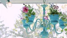 DIY Chandelier Makeovers - DIY Outdoor Chandelier Planter - Easy Ideas for Old Brass, Crystal and Ugly Gold Chandelier Makeover - Cool Before and After Projects for Chandeliers - Farmhouse, Shabby Chic and Vintage Home Decor on A Budget - Living Room, Bedroom and Dining Room Idea DIY Joy Projects and Crafts http://diyjoy.com/diy-chandelier-makeovers