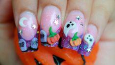 Happy Halloween!!!!     3D purple acrylic nail design