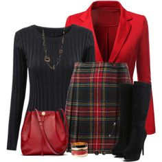 """Tartan Skirt"" - no, I will not pay $1030 for a skirt. But this a cute look"