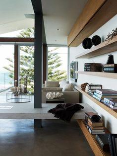 great wallshelves in modern light livingroom - Images via Les Interieurs