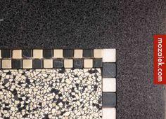 nicheproduct: verkrijgbaar bij mozaiek utrecht: marmermen blokjes te combineren met granito tegels stroken 25-30 euro vloertegels 80-100 euro per m2
