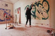 Lee Krasner painting in studio...