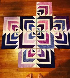Fun blocks in progress. I always fall for graphics like this with repeats and movement. #northstarquilt #purple #quiltersofinstagram #craft #sewing #quilting