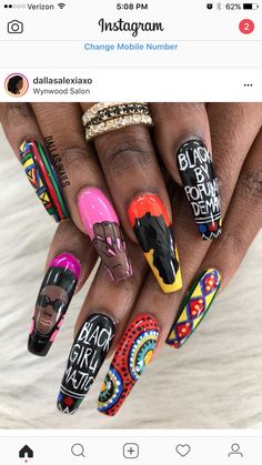 Black Power nail art
