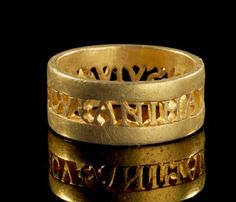 "Roman ring with the inscription ""ANIMA DVLCIS VIVAS MECV"" (May you live with me sweet soul). Late Roman, 4th century AD"