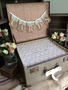 ***PLEASE CONTACT ME FOR SHIPPING QUOTE BEFORE PURCHASE****    This beautiful vintage suitcase has been transformed into a wishing well/card box for