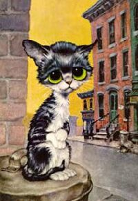 Vintage Gig Keane Cat Big Eyes Pity Kitty Pop Art Poster Print on Cardboard, Antique, Black & White Yellow Eyed Kitten, Alley Cat Kitsch Art, Image Chat, Pop Art Posters, Kunst Poster, Alley Cat, Puppies And Kitties, Vintage Art Prints, Cat Decor, Mundo Animal