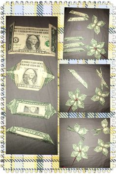 How to make Plumaria flower from a dollar bill. You can use three dollars to ma… How to make Plumaria flower from a dollar bill. You can use three dollars to make the Plumaria, or two dollars if you're short on money Origami Money Flowers, Money Origami, Origami Art, Diy Money Lei, Oragami, Origami Boxes, Origami Bookmark, Diy Graduation Gifts, Graduation Leis