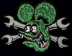 Rat Fink Patch Badge Head With Cross Wrenches Hot Rod Chopper Vest JacketYou can find Rat fink and more on our website. Motorcycle Suit, Rat Fink, Rarity, Vest Jacket, Chopper, Hot Rods, Badge, Patches, Digital Art