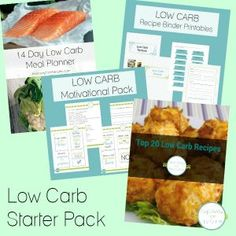 Low Carb Starter Pack of printables, including meal planner, motivational cards, recipe ebook and more! Zero Carb Diet, No Carb Diets, Low Carb Keto, Low Carb Recipes, Low Carb Starters, Low Carb Shakes, Clafoutis Recipes, Carb Day, Low Carb Ice Cream