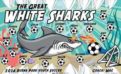 Sharks-Great-White-42524 digitally printed vinyl soccer sports team banner. Made in the USA and shipped fast by BannersUSA. www.bannersusa.com