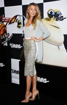 Blake Lively does makes sparkle subtle with a cardi and nude pumps
