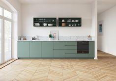 Watches for kitchen - Home Fashion Trend Apartment Kitchen, Home Decor Kitchen, Interior Design Kitchen, Living Room Kitchen, Home Kitchens, Kitchen Furniture, Green Kitchen, New Kitchen, L Shape Kitchen