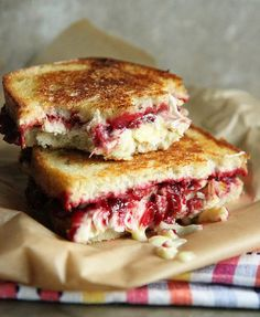 Roasted Turkey, Cranberry and brie grilled cheese #recipe via @Heather Creswell Creswell Creswell Creswell Christo