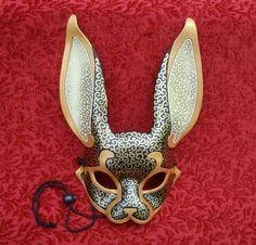 Black and Gold Venetian Rabbit Mask... handmade leather rabbit mask