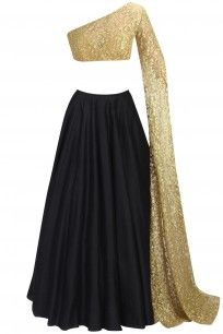 Nikhil Thampi presents Black flared lehenga and nude embroidered lehenga set available only at Pernia's Pop Up Shop. Party Wear Indian Dresses, Designer Party Wear Dresses, Indian Gowns Dresses, Indian Fashion Dresses, Indian Designer Outfits, Indian Outfits, Indian Skirt, Dress Indian Style, Stylish Dresses For Girls