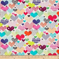 Alexander Henry Heart Beat Hearts a Flutter Natural/Multi from @fabricdotcom  Designed by the De Leon Design Group for Alexander Henry, this cotton print fabric features patterned hearts that offer up more of a trendy vibe and less of a romantic feel. Perfect for quilting, apparel and home decor accents. Colors include white, black, green, chartreuse, purple, blue, wine, orange, peach and shades of pink.