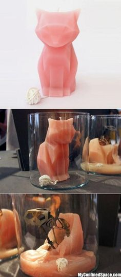 Cat Candle that reveals Tim Burtonesque skeletal structure when melted. Awesome.
