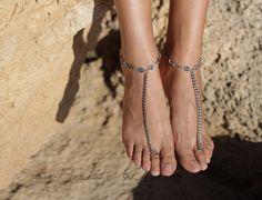 Fußkettchen - Fußkettchen Barfuß Sandalen antiksilber Ethno - ein Designerstück von SlaveBracelets bei DaWanda