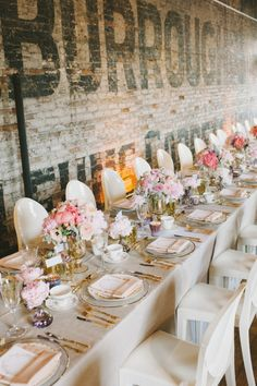 Gorgeous centerpieces and gold silverware  Toronto Wedding at the Burroughs Building from Mango Studios  Read more - http://www.stylemepretty.com/2013/11/14/toronto-wedding-at-the-burroughs-building-from-mango-studios/