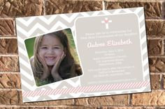First Communion Confirmation Christening Pink & Tan Chevron Photo Invitation with free Thank You
