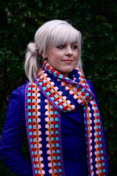 crochet scarf pattern - this could make a nice prayer shawl of colors or fewer colors or single color. quick to crochet typical shawl 57 stitches by long Crochet Scarves, Crochet Shawl, Crochet Clothes, Crochet Stitches, Crochet Patterns, Crocheted Scarf, Scarf Patterns, Crochet Gratis, Crochet Diy