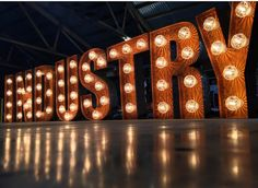 Metal Industrial Marquee Letter / Number Light Retro Aged Rusted Look With Carnival Light Caps - Hand Made In Britain