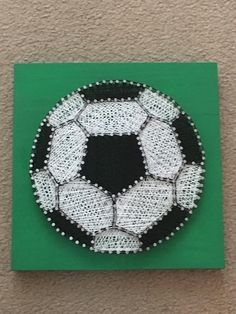 MADE TO ORDER 9x9 Soccer Ball String Art. Green painted wood with wire nails and crochet thread. Sawtooth hanger included on back. **finished item, will be shipped as is