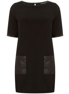 Black leather look trim ponti tunic - Tops & T-Shirts  - Clothing