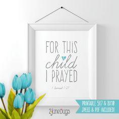 Bible Verse Art Printable - 1 Samuel 1:27 (baby boy)